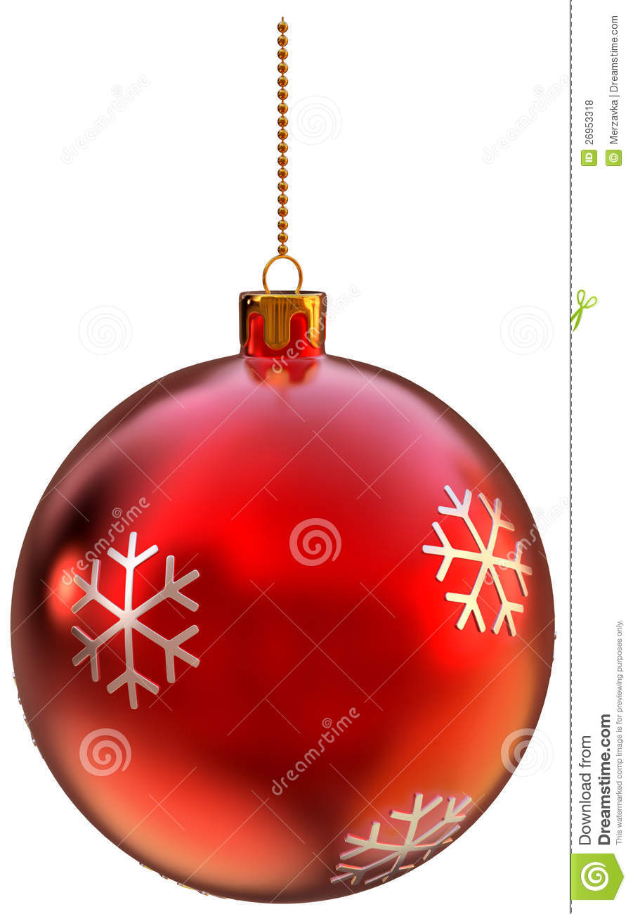Red Christmas Ball On White Background Royalty Free Stock