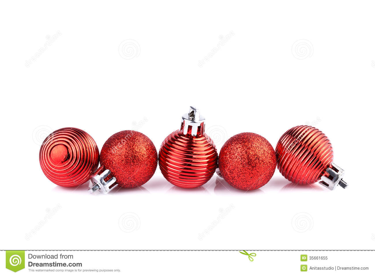 Red Christmas Balls Horizontally On Straight Line Royalty ... Red Straight Line Vector