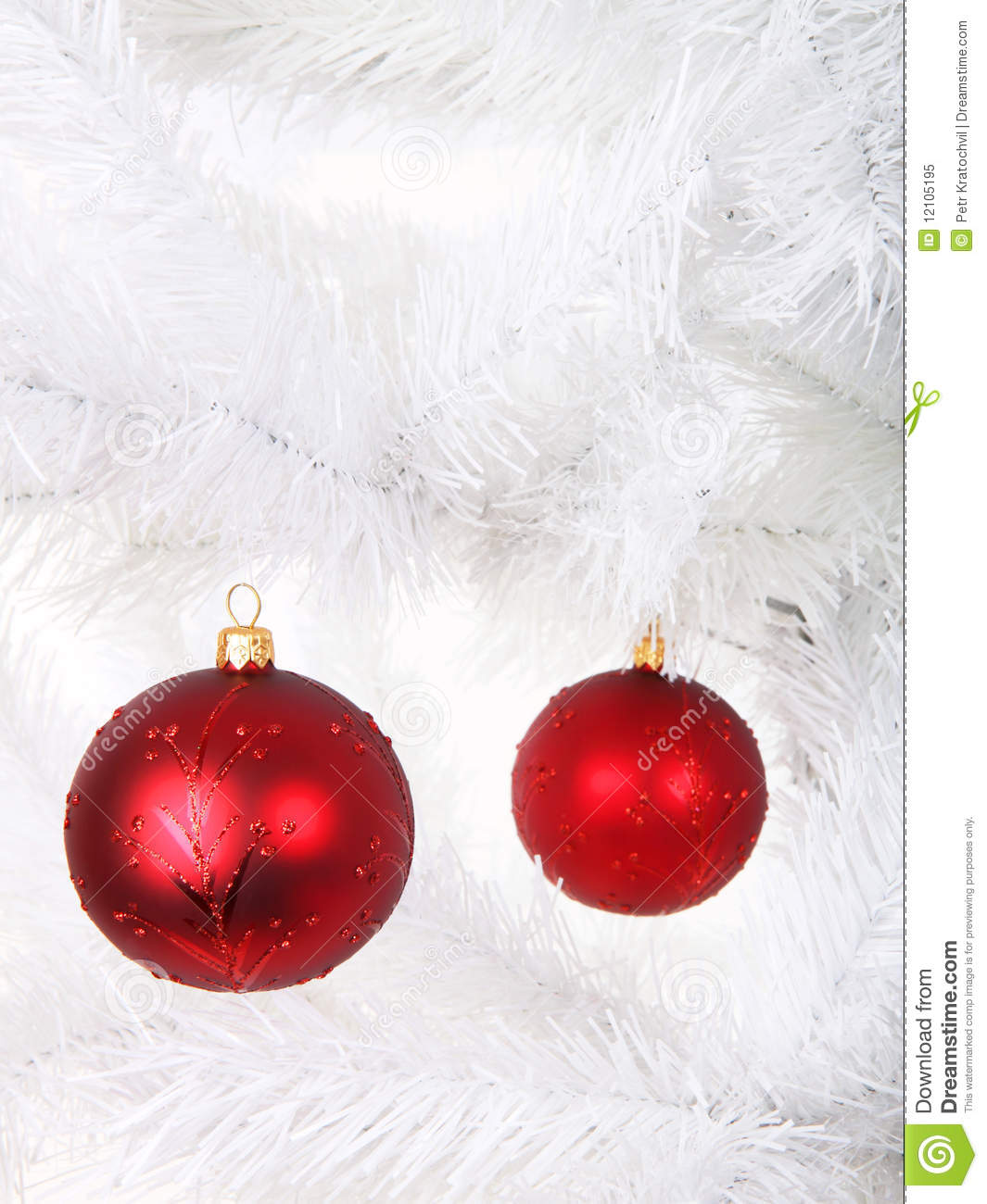 Red christmas balls on tree stock image of holiday