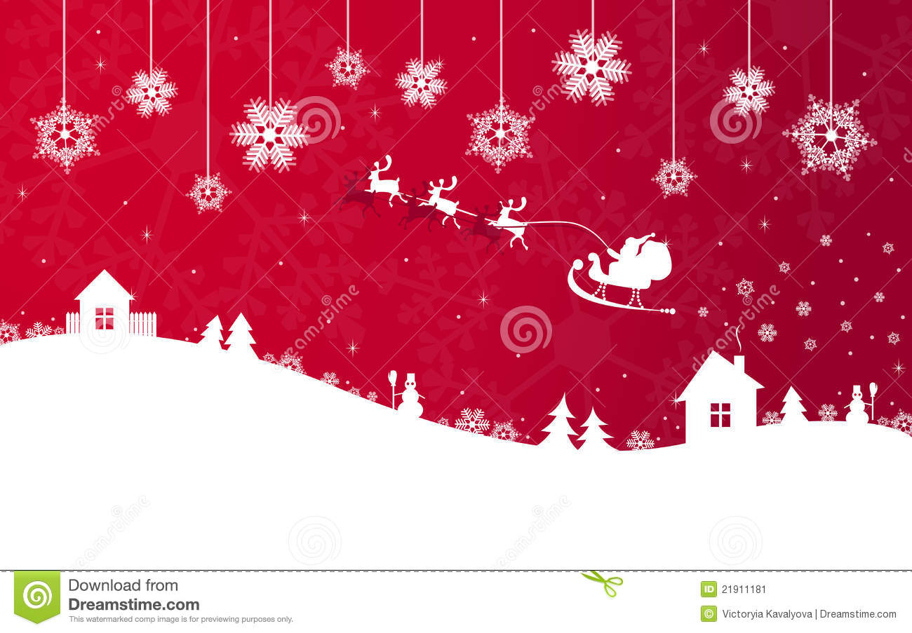 Red christmas banner with santa claus stock image