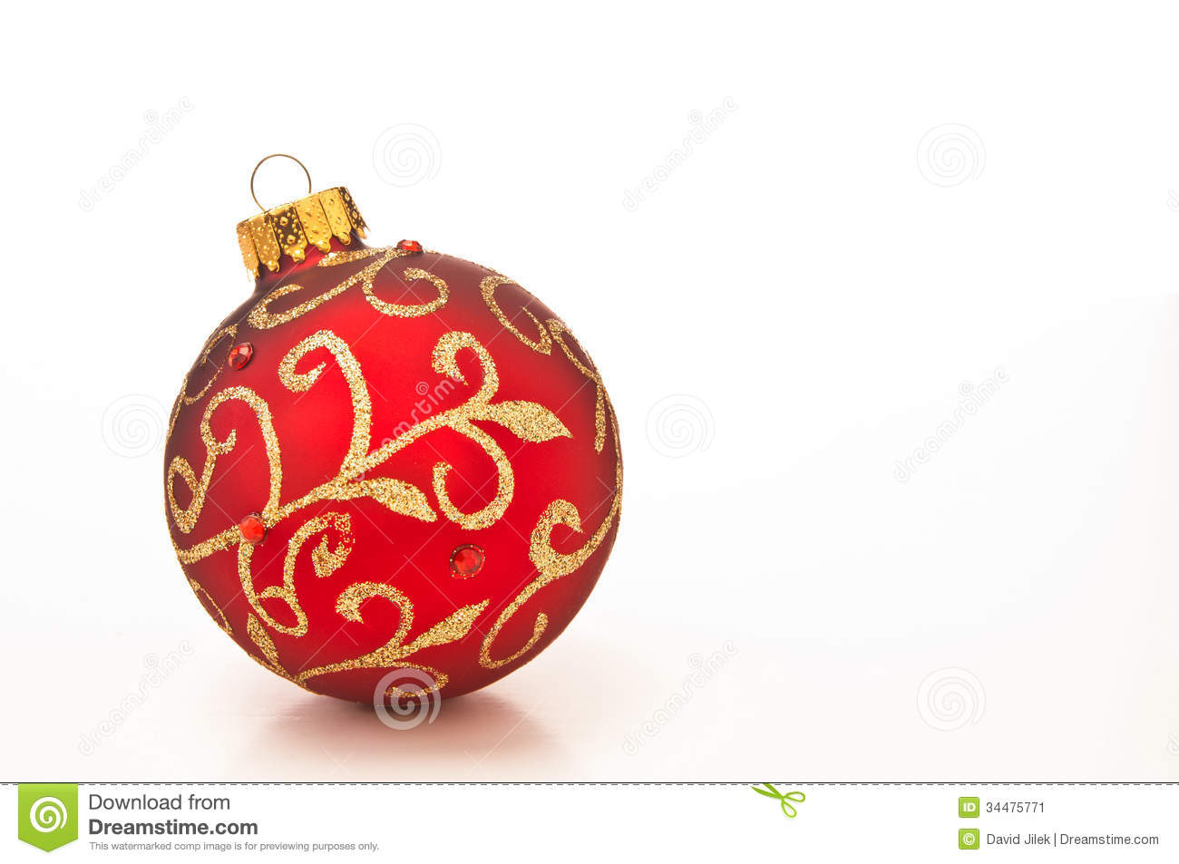 Red christmas bauble stock photo 34475190 for White christmas baubles