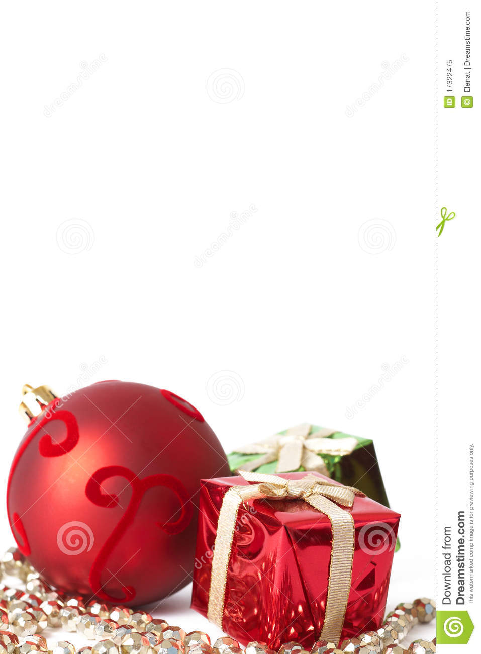 Red christmas bauble and gifts stock image cartoondealer
