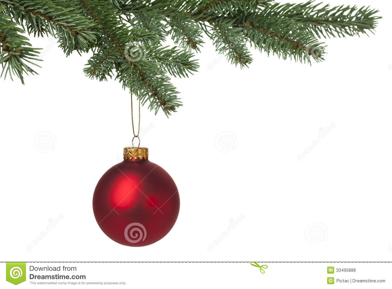Red christmas bauble hanging on pine tree royalty free for Outside christmas baubles
