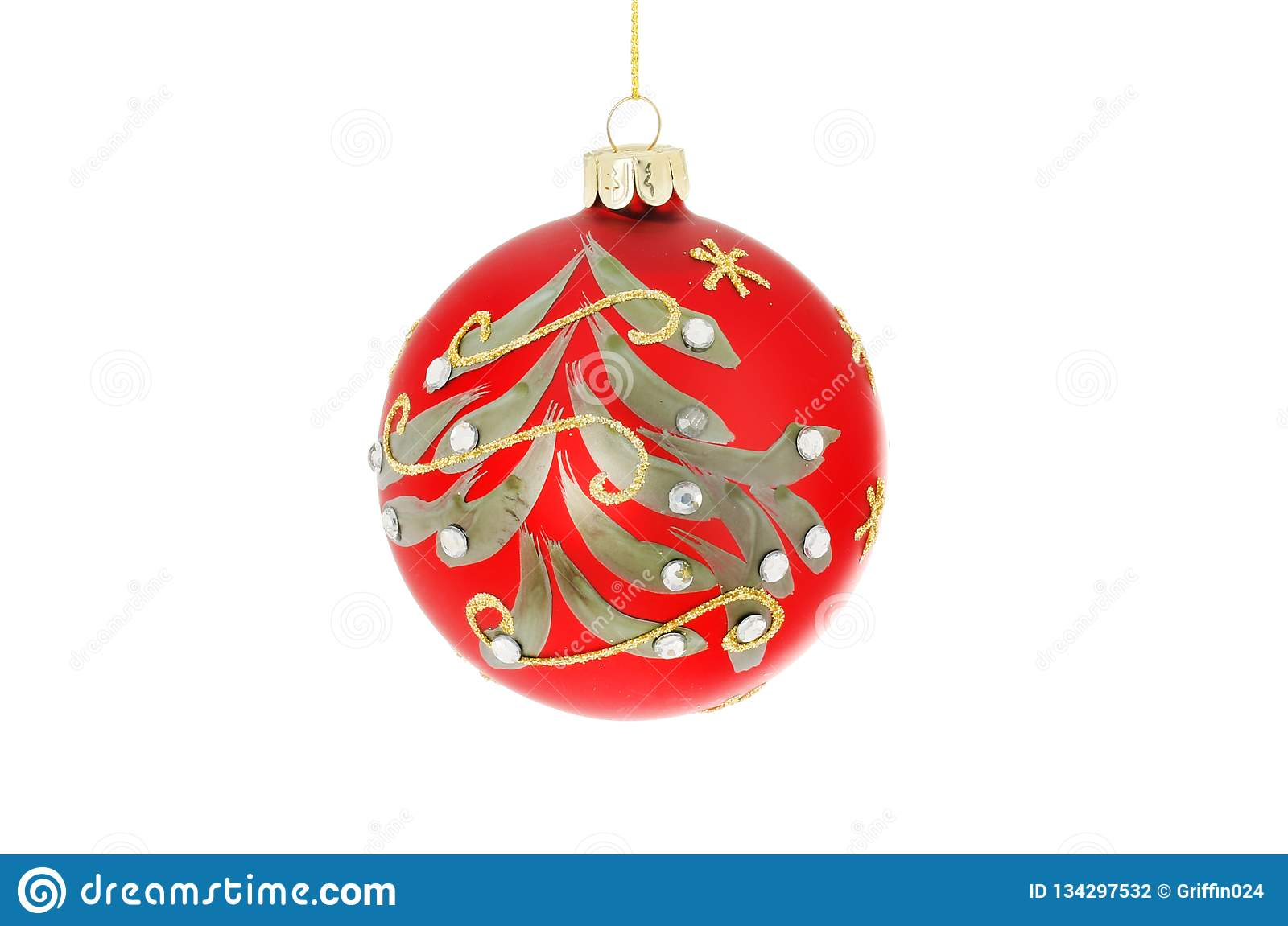 85ecd50665d6 Red and gold glitter Christmas bauble with a Christmas tree motif, studded  with glass jewels, isolated against white