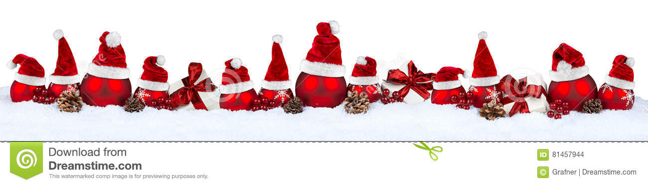 Red christmas bauble row santa hat