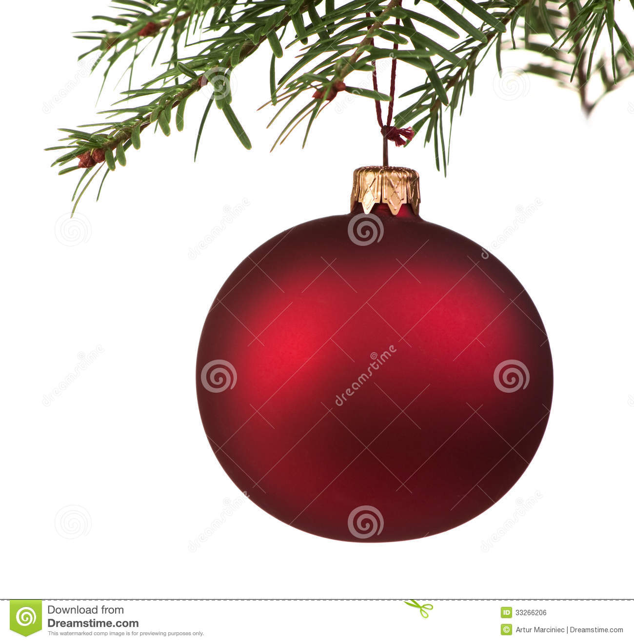 Red Christmas bauble on the tree