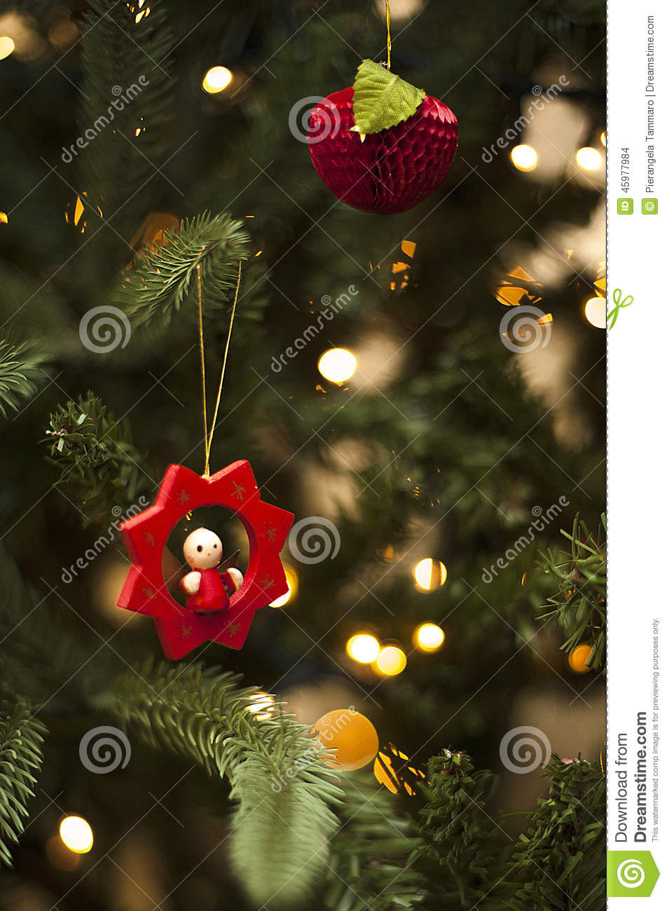 Red Christmas Bauble with tree and ornament green