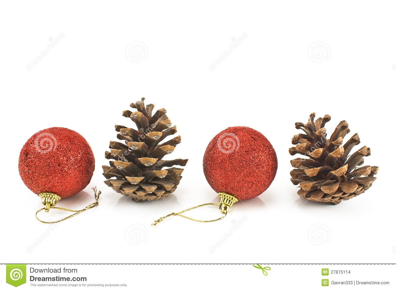 Red christmas baubles with pine cones stock photo image for What to do with pine cones for christmas