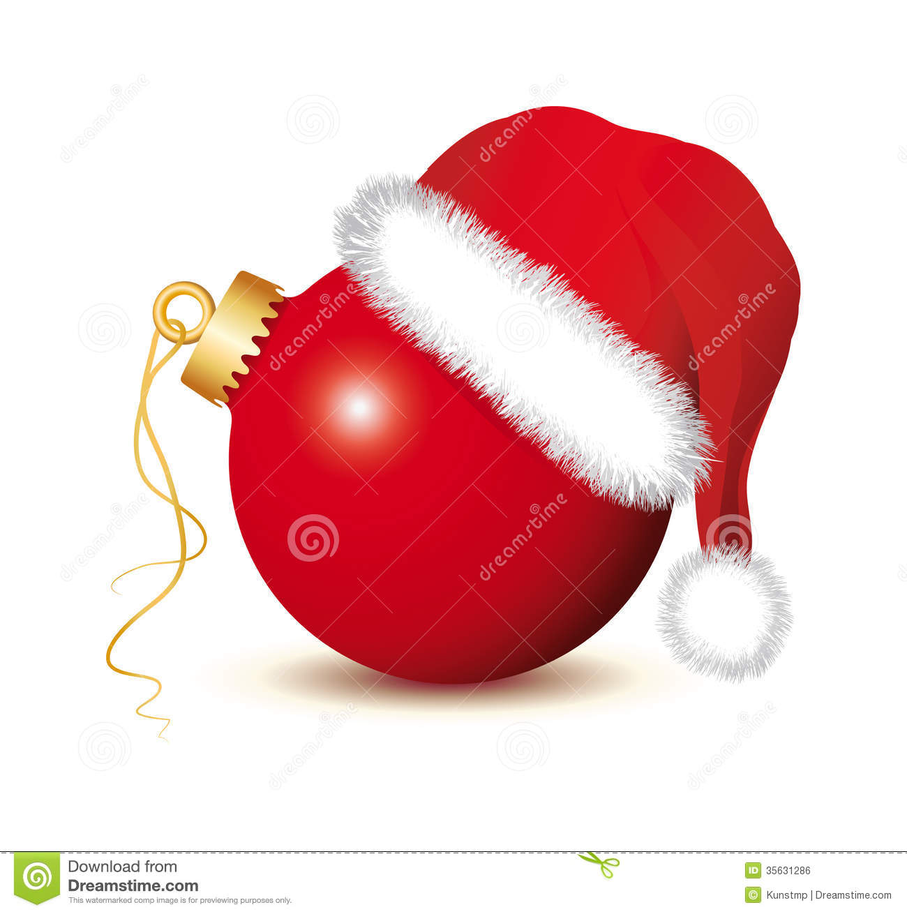 Red Christmas Baubles With Santa Claus Hat Royalty Free