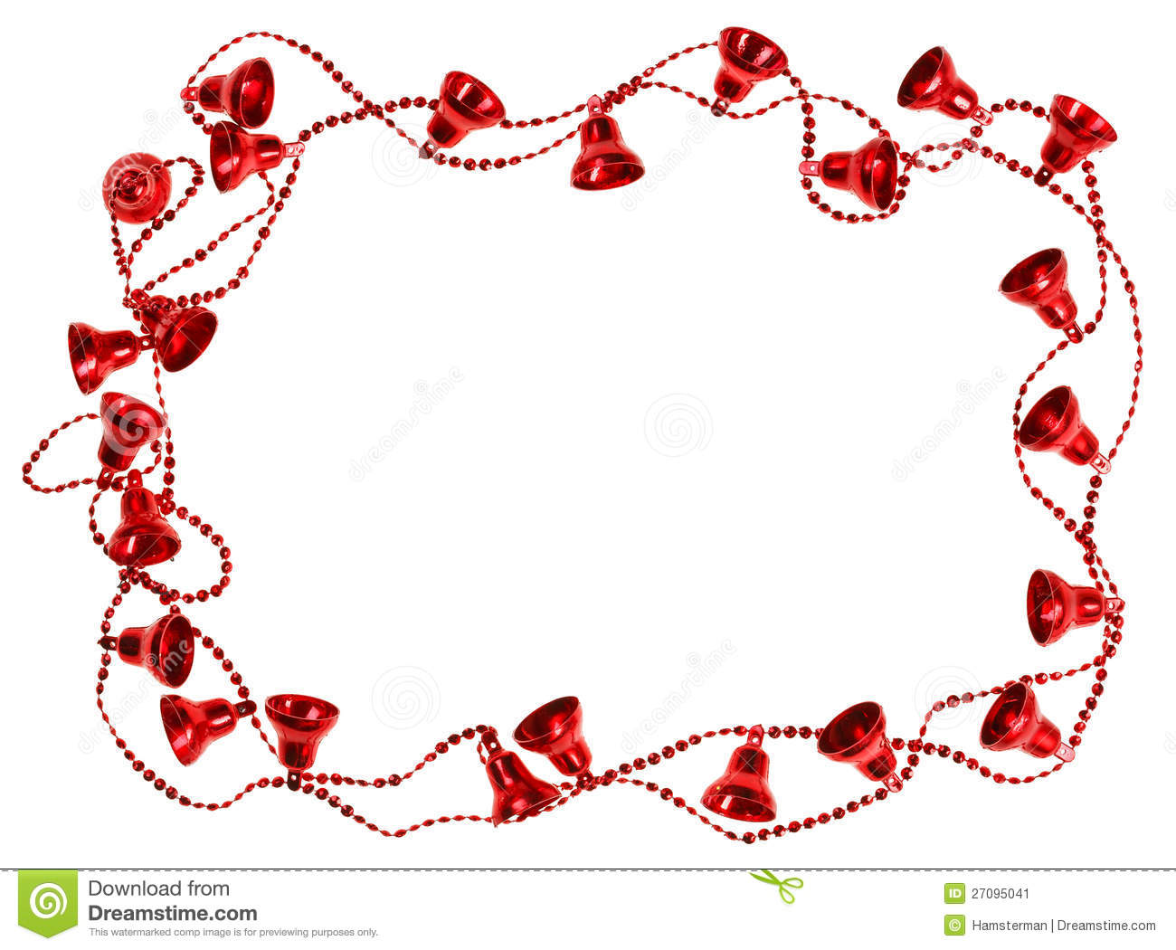 red christmas bell garland frame stock image image of isolated