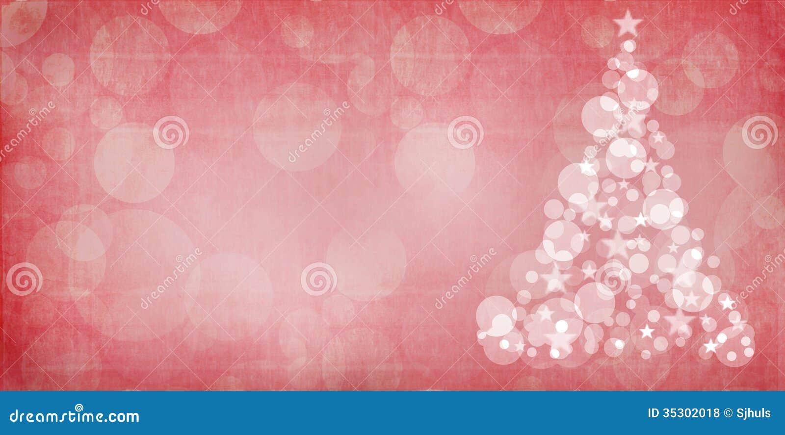 Red Christmas Bokeh Christmas Tree With Grunge Overlay