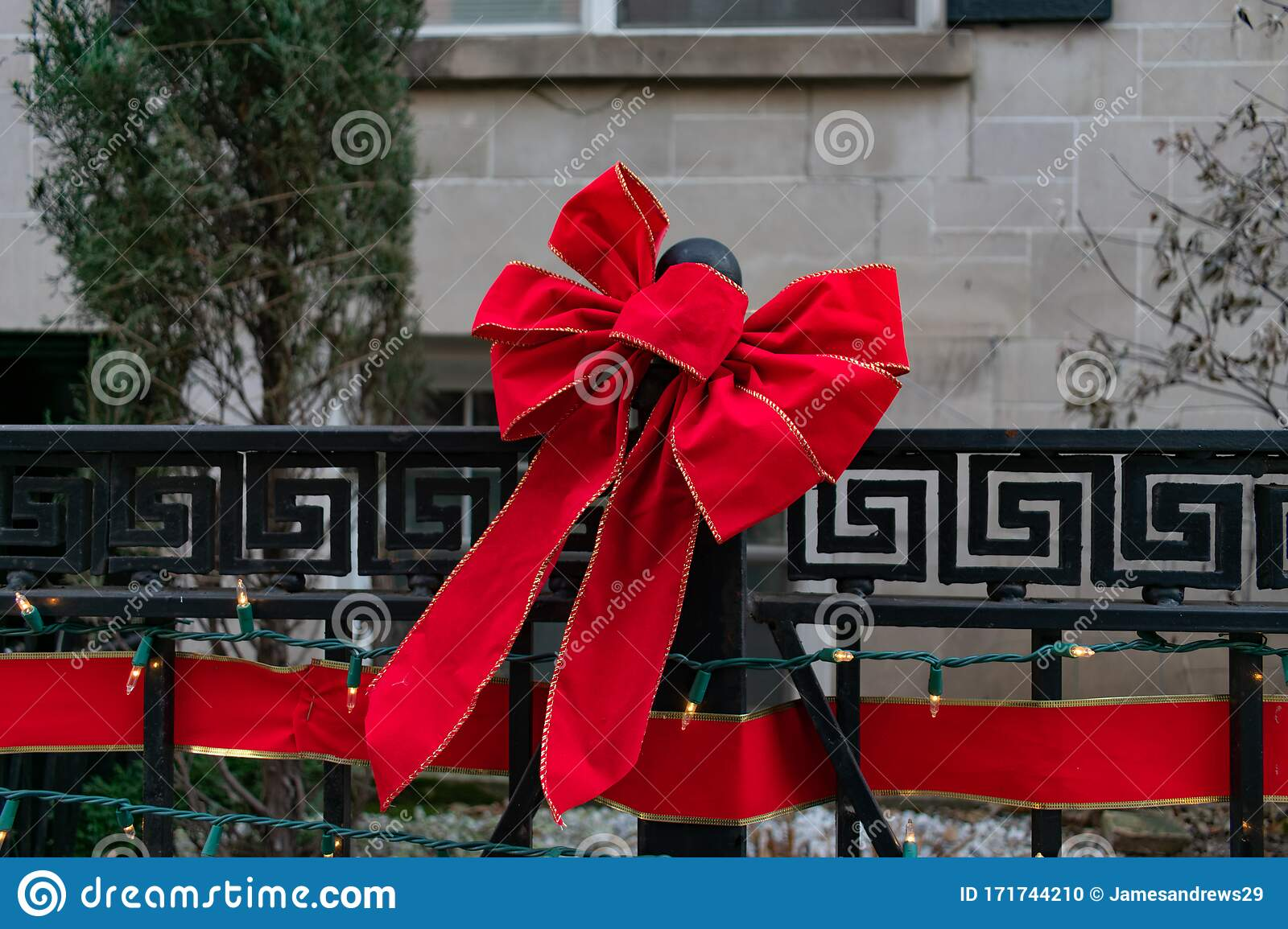 Image of: Red Christmas Bow On An Outdoor Fence Stock Photo Image Of Winter Outdoors 171744210