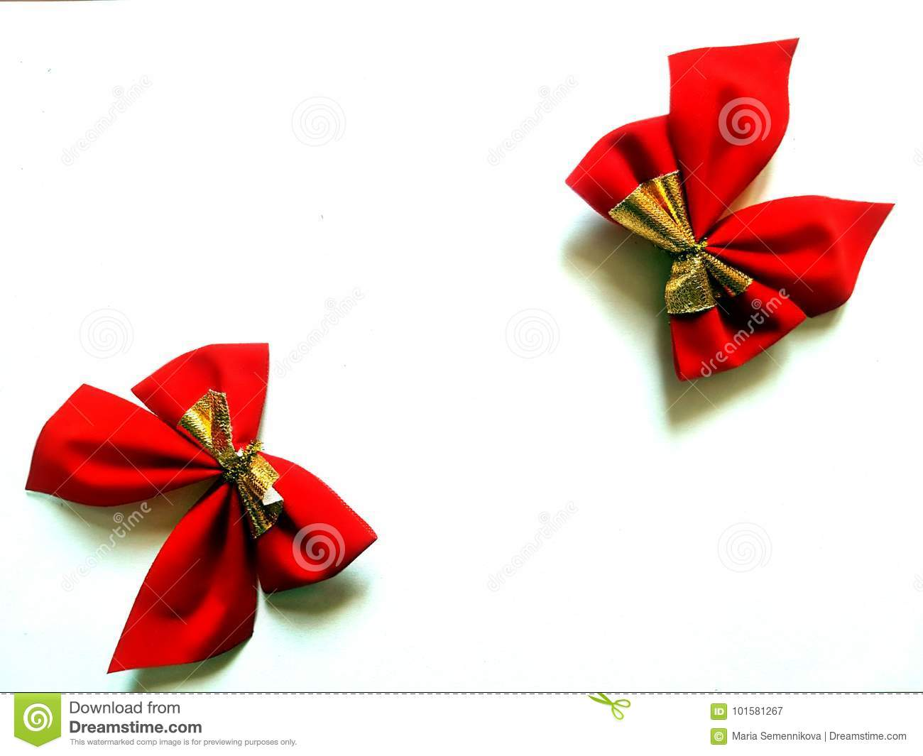 red christmas bows isolated on white background - Red Christmas Bows