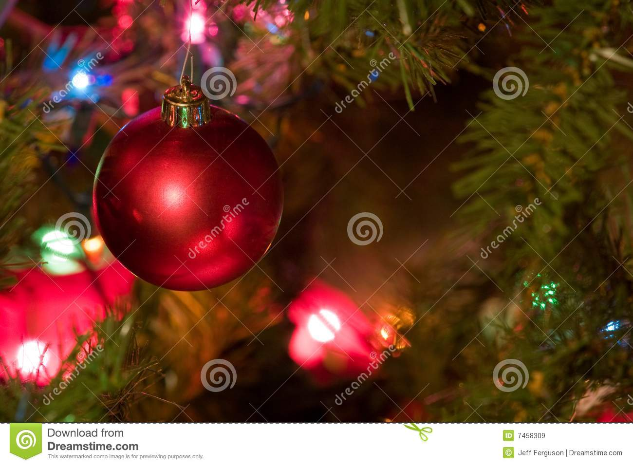 Red christmas bulb with colored lights on tree stock image
