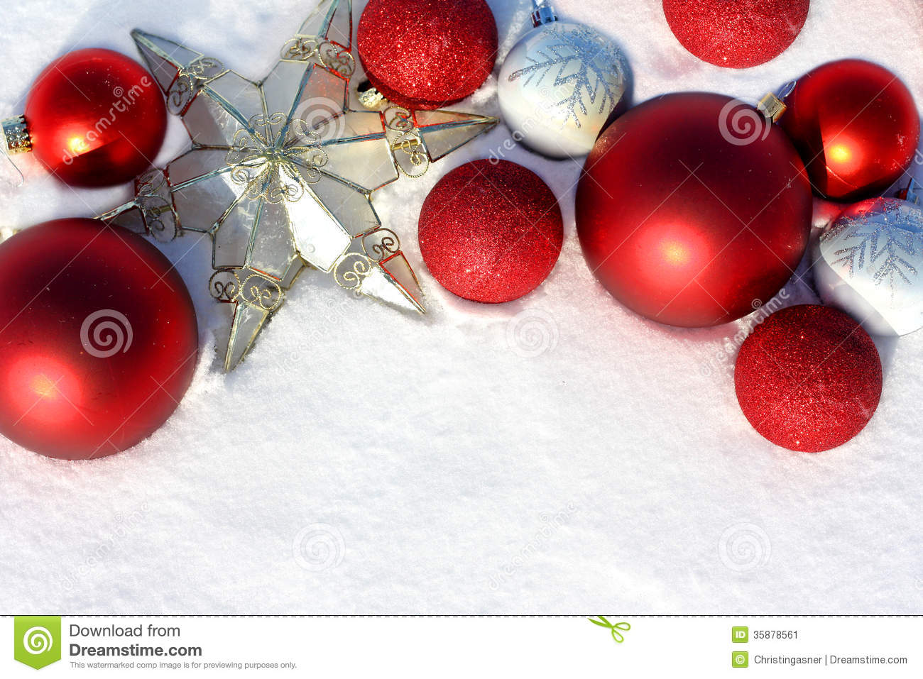 Red Christmas Bulbs And Star In White Snow Border Stock