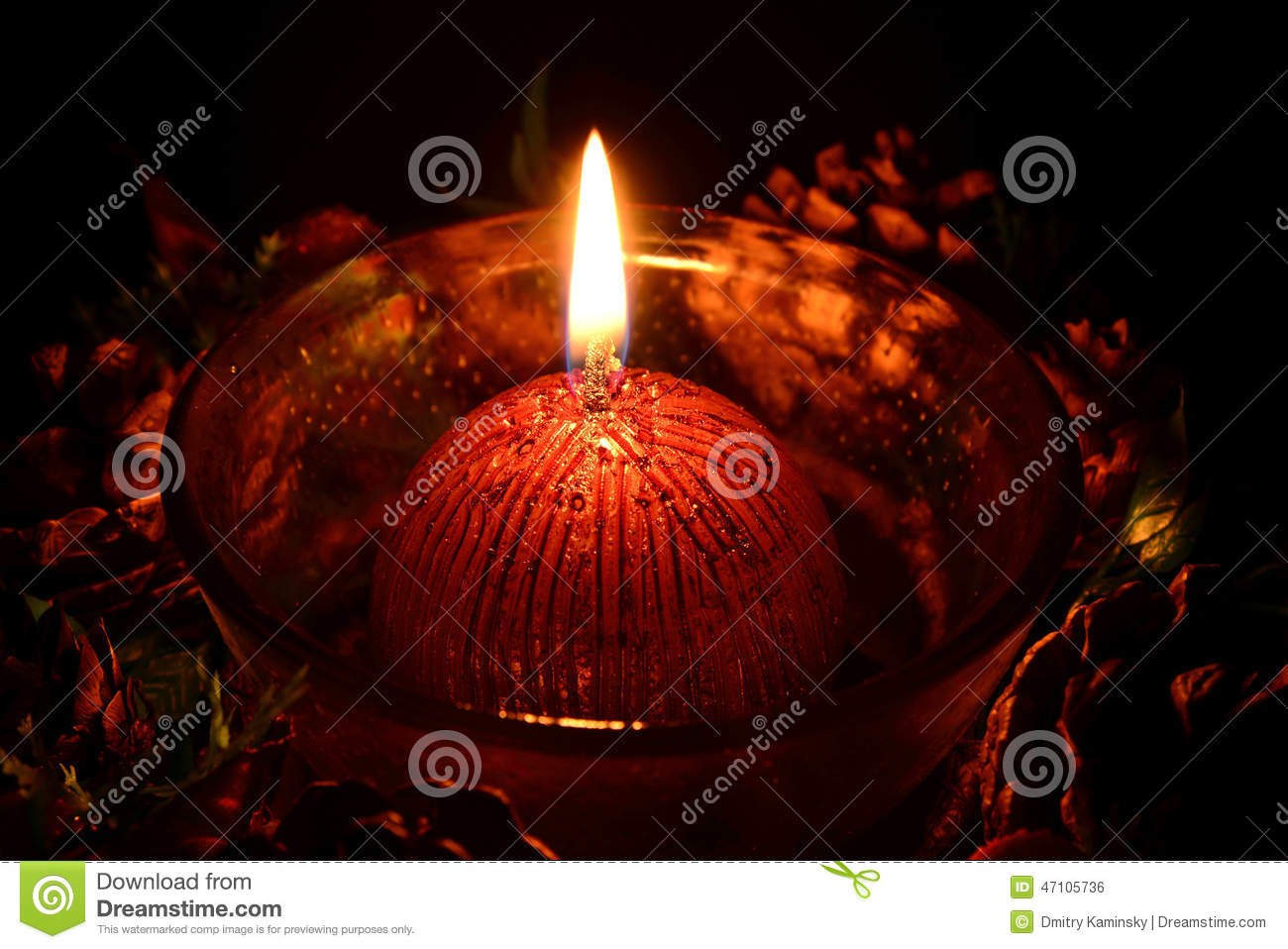 Red Christmas Candle Burning On A Black Background Stock ...