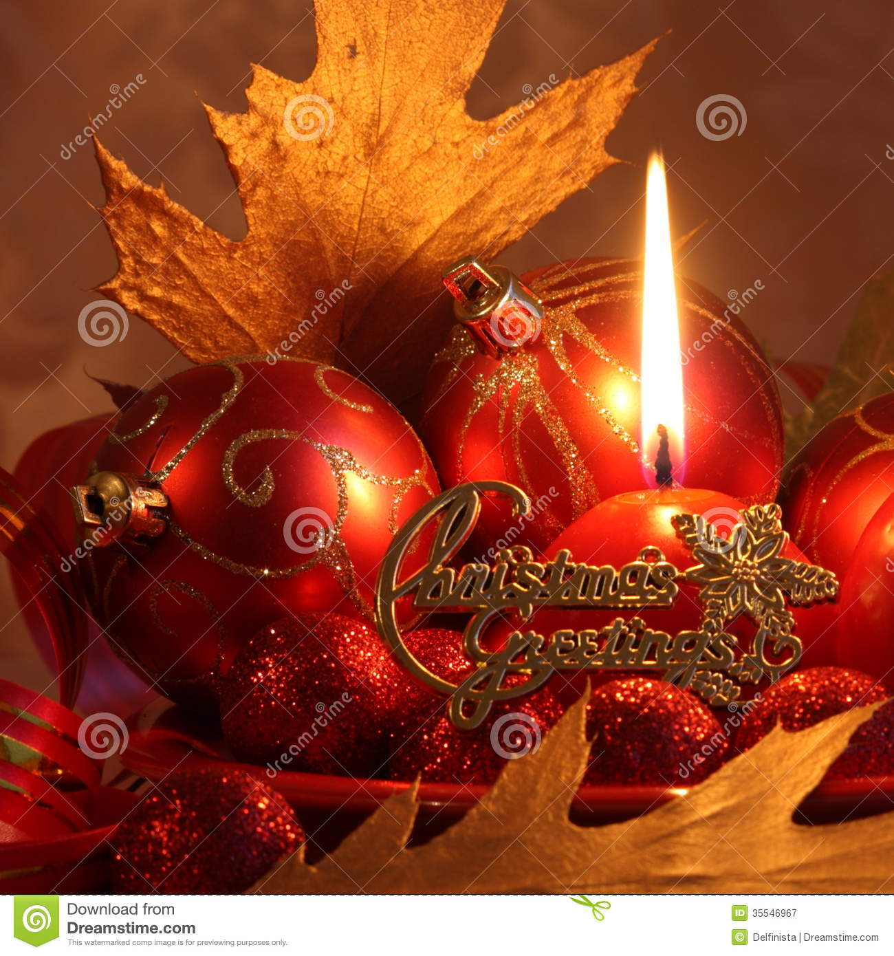 Red Christmas Card Balls amp Candle Stock Photos Royalty