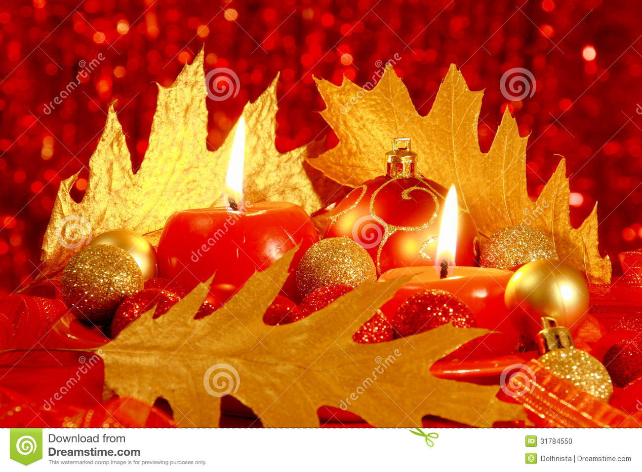 Red Christmas Card Balls amp Candles Stock Photos
