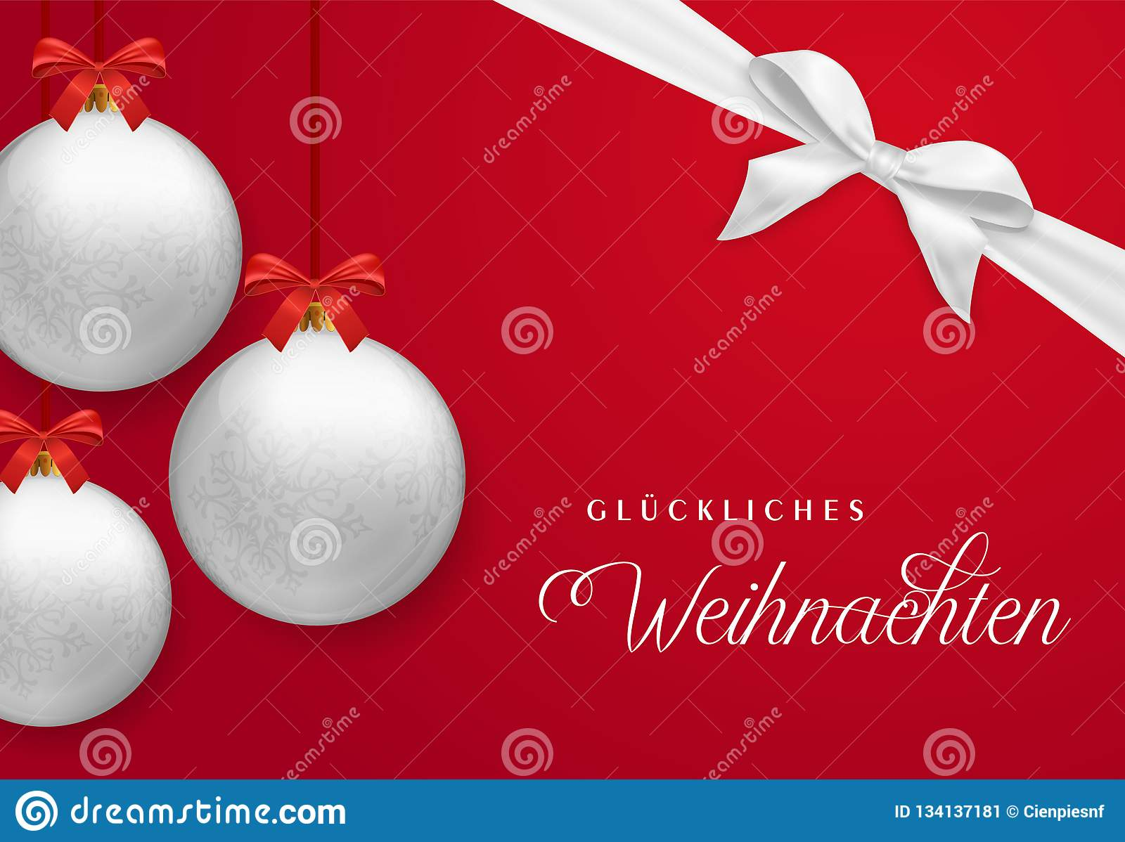How Do You Say Merry Christmas In German.Red Christmas Card With Ornament Ball In German Stock Vector