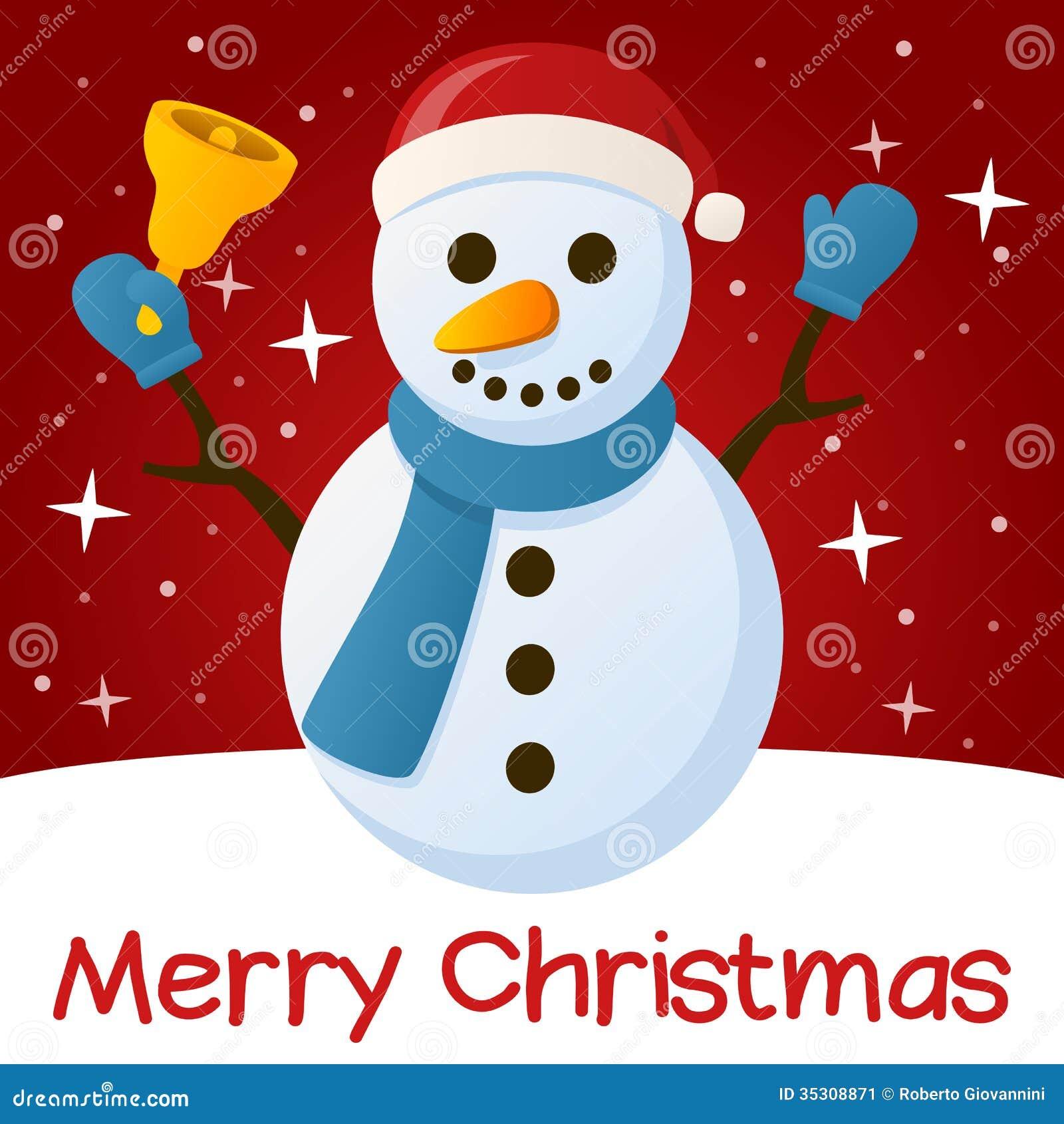 Red christmas card snowman cartoon vector cartoondealer