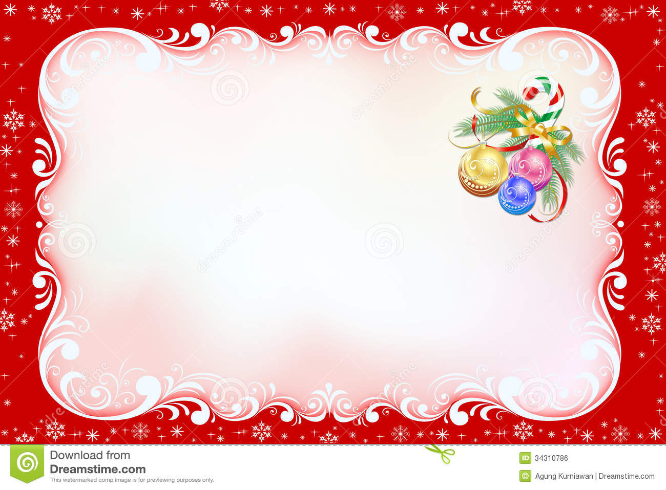 Red Christmas Card With Swirl Frame. Illustration 34310786 - Megapixl