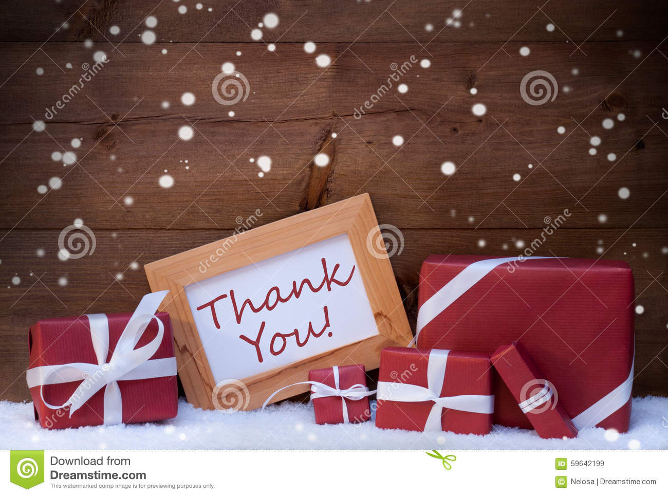 Red Christmas Decoration, Gifts, Snow, Thank You, Snowflakes Stock ...
