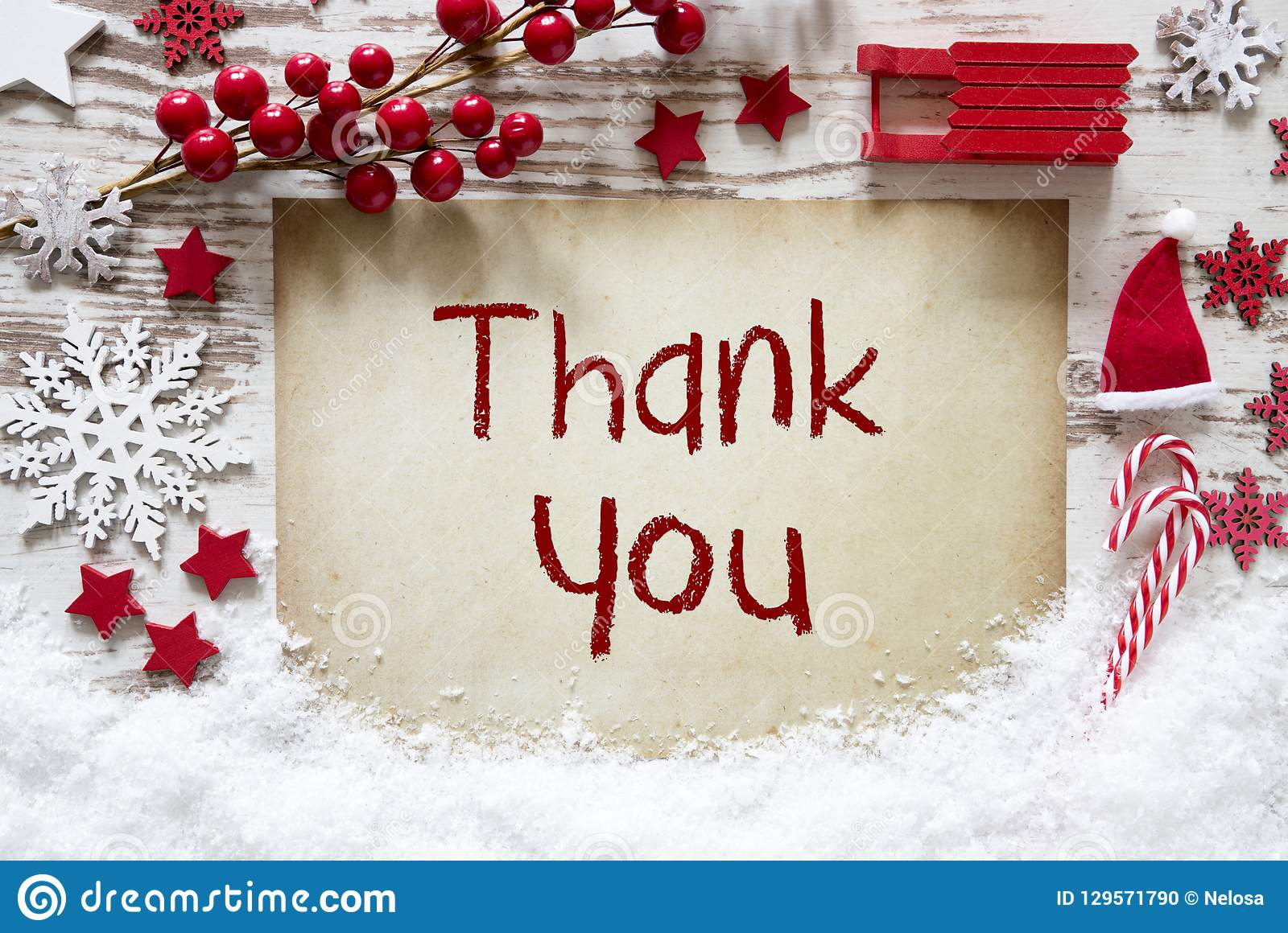 dd9b35370df51 Paper With English Text Thank You. Rustic White Christmas Flat Lay With  Snow. Red Decoration Like Santa Hat