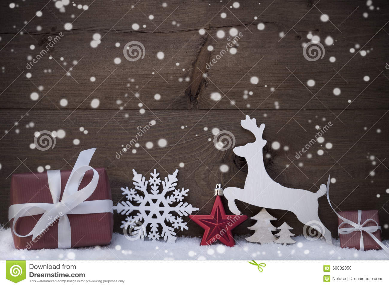red christmas decoration snowflakes snow reindeer and gift