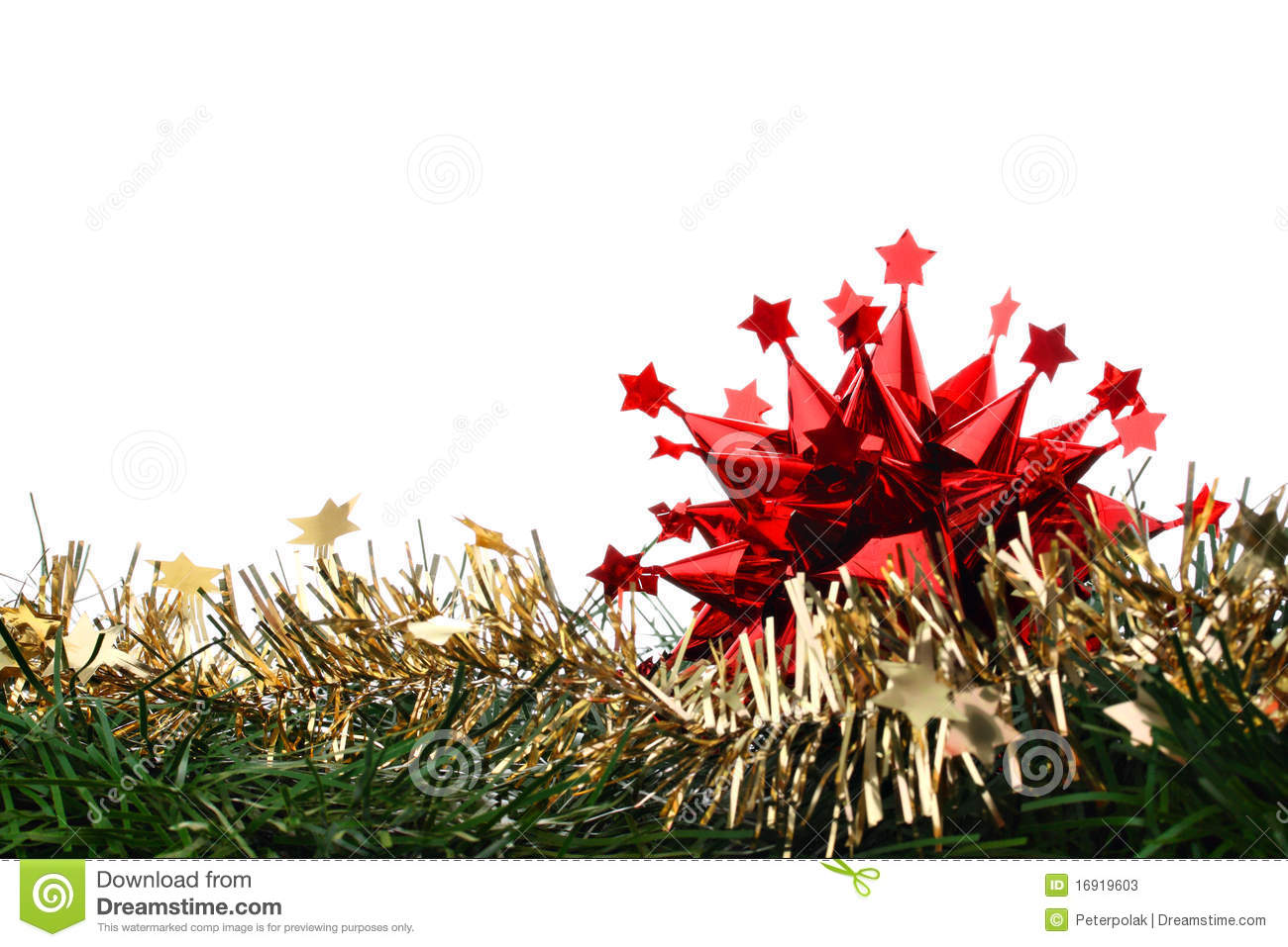 download red christmas decoration star on gold chain fir stock image image of golden - Christmas Chain Decorations