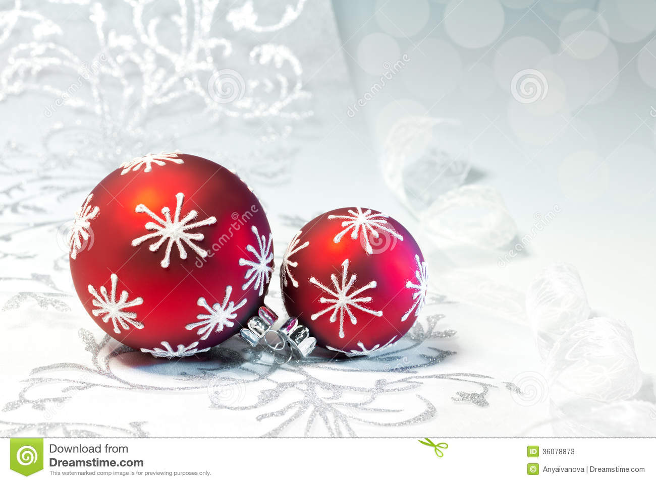 Red Christmas Decorations With Silver Ornament Stock Image ...