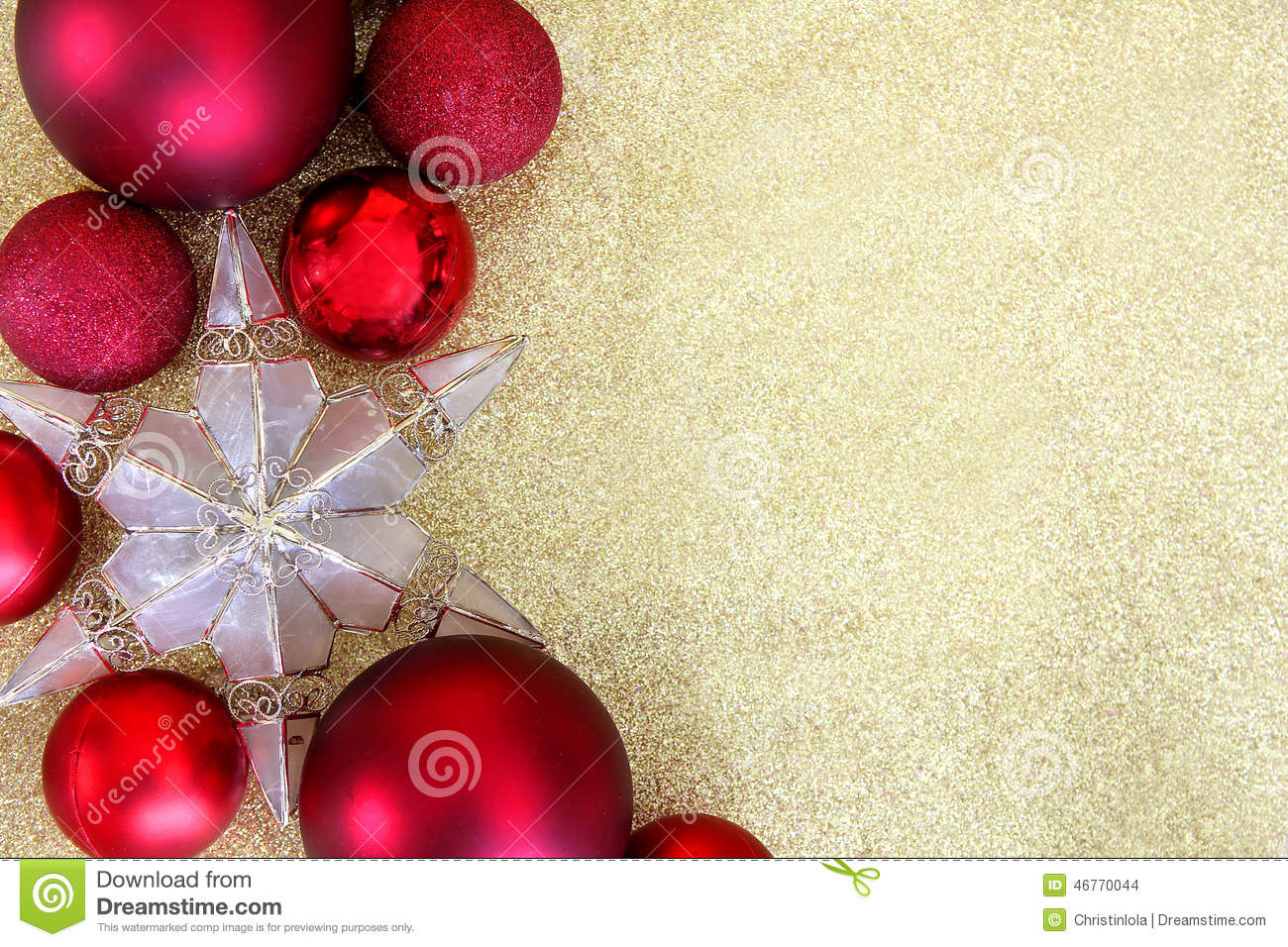 Red christmas decorations and star border gold background for Background decoration images