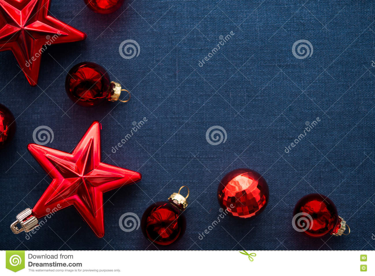 red christmas decorations stars and balls on dark blue canvas background merry christmas card winter holidays xmas theme happy new year - Blue Christmas Theme Decorations
