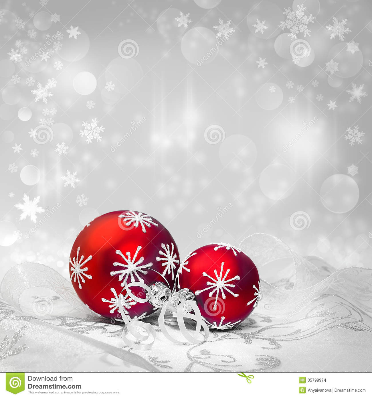 Red christmas decorations on winter background text space for Background decoration images