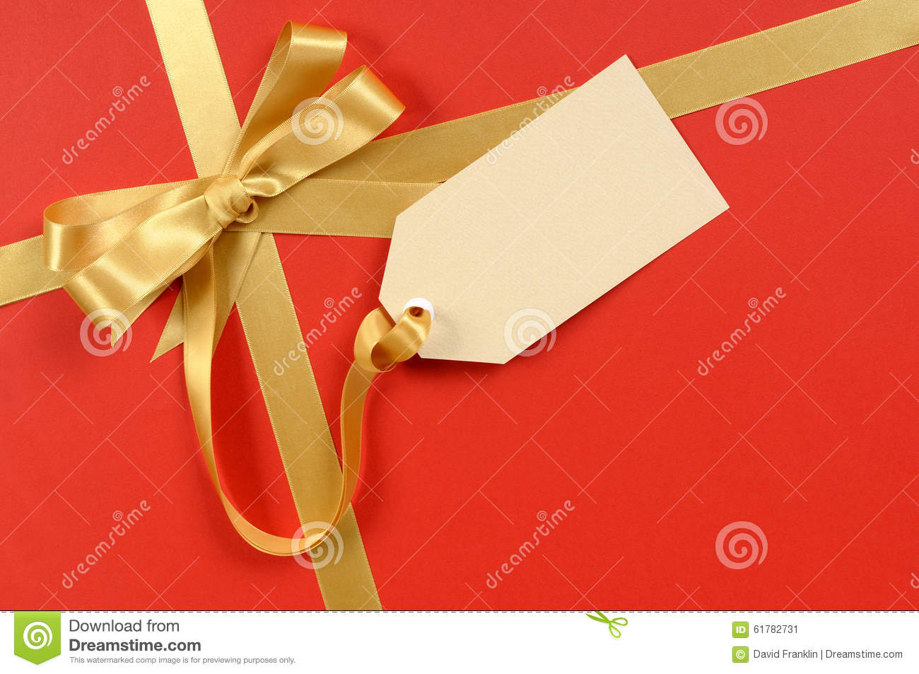 red christmas gift background gold ribbon bow blank manila gift