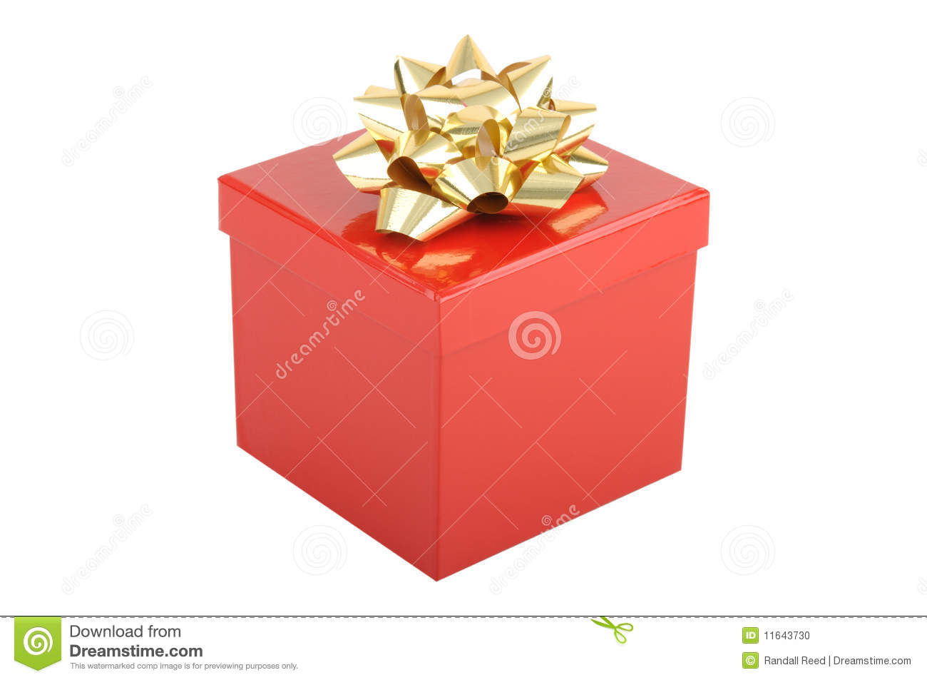 Red christmas gift box with gold bow stock photo image