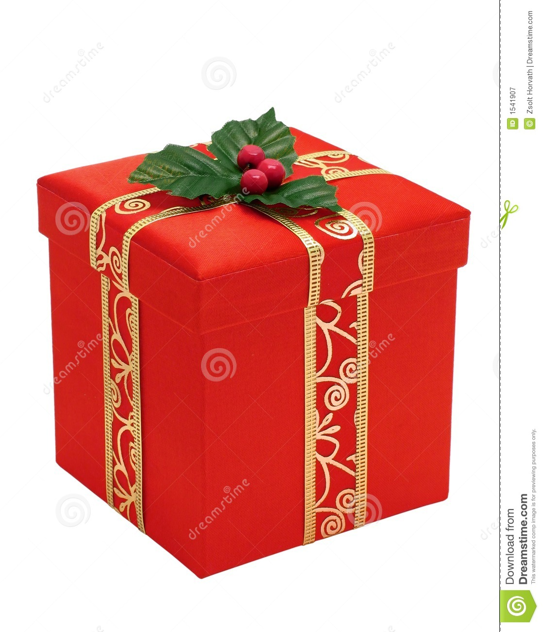 Red christmas gift box with gold ribbon stock image