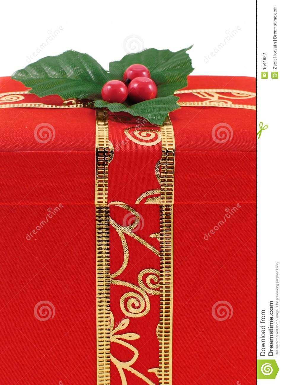 Red christmas gift box with gold ribbon stock photo