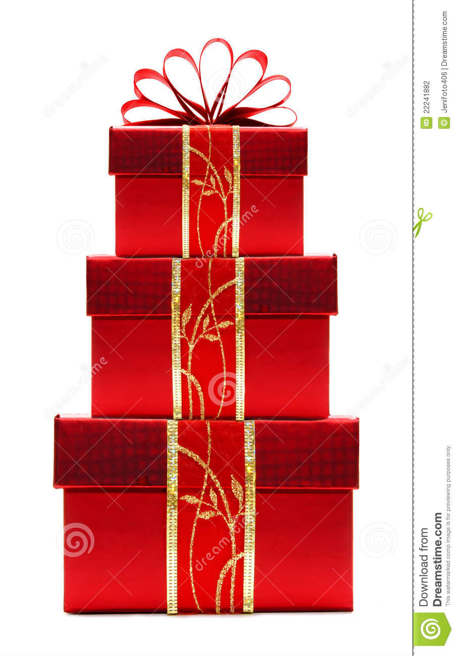 Red christmas gift boxes stacked stock photography image