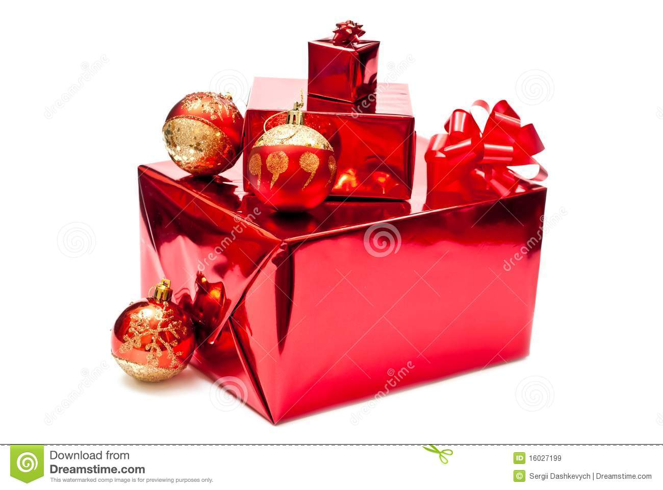 Red christmas gifts and toys stock image