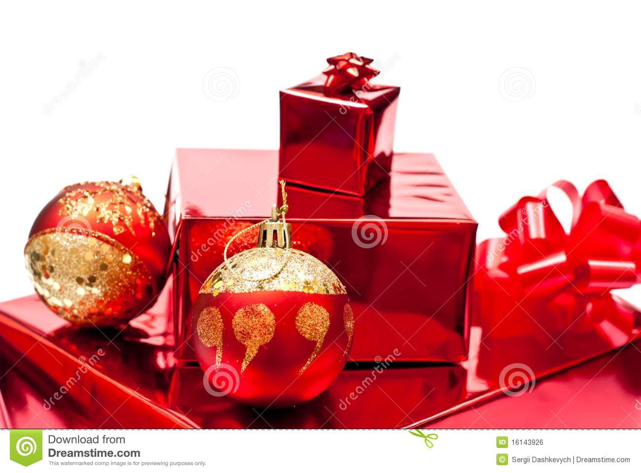 Red christmas gifts and toys royalty free stock image