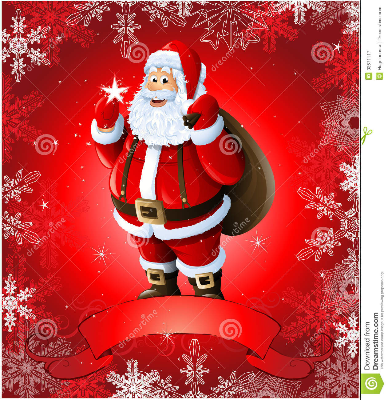 red christmas greeting card with santa claus - Santa Claus Red