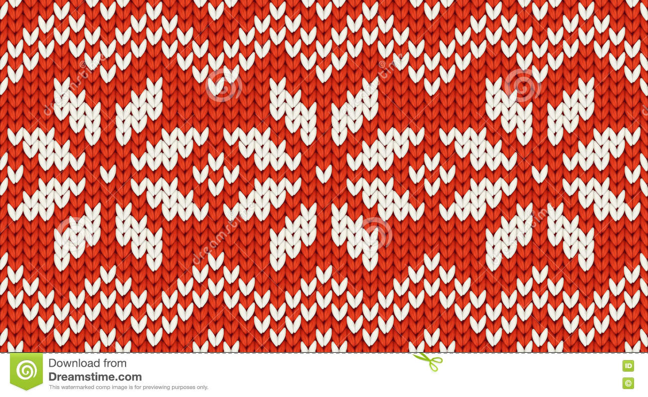 Red Christmas Knit Vector Seamless Pattern With White Snowflakes And ...
