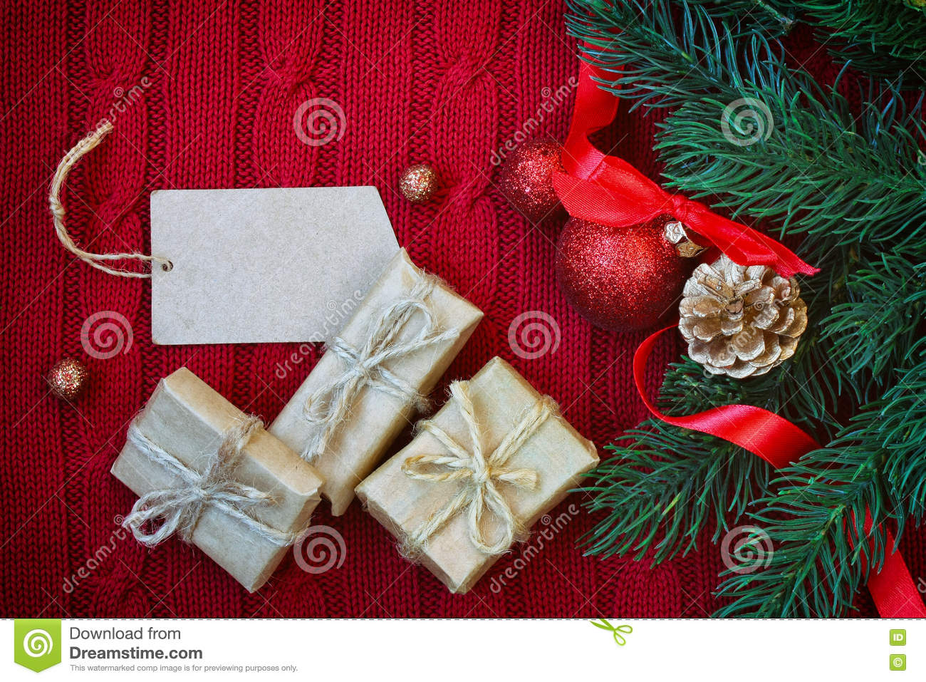 Red Christmas Knitted Background With Three Gift Box Stock Photo ...