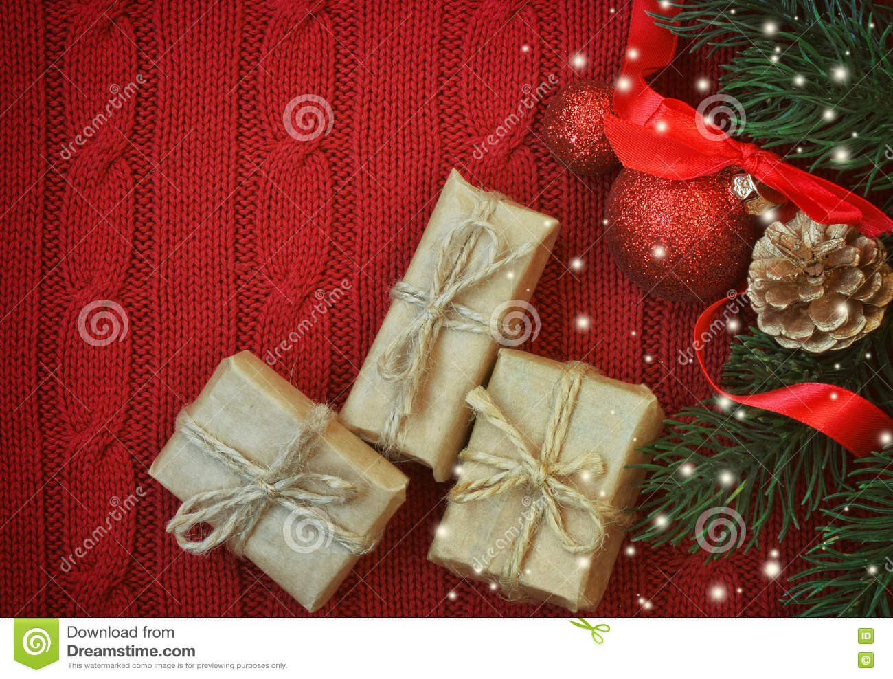 Red Christmas Knitted Background With Three Gift Box Stock Image ...