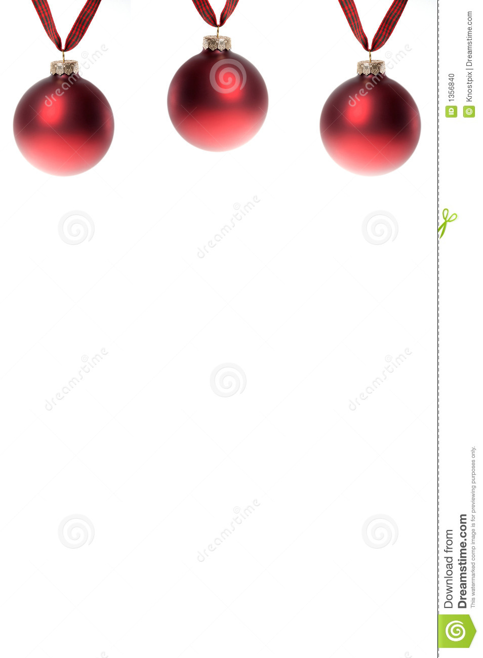 Red christmas ornament border on white stock photo image