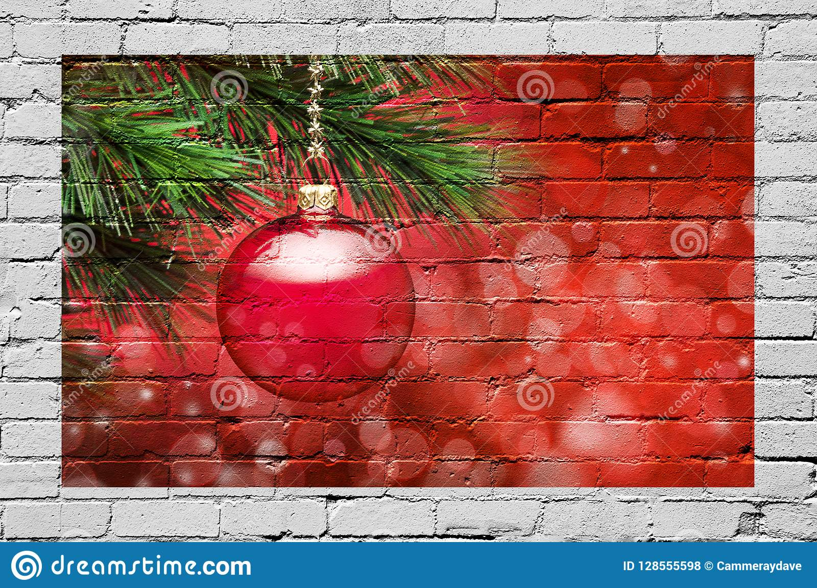 Christmas Tree Ornament Graffiti Background Stock Photo Image Of Green Decorate 128555598