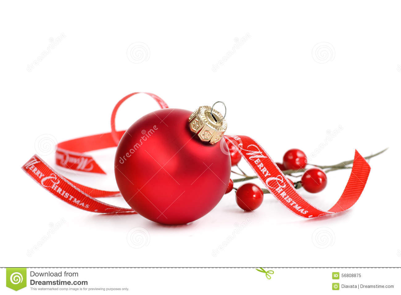 Red Christmas Ornament With Merry Christmas Ribbon Stock