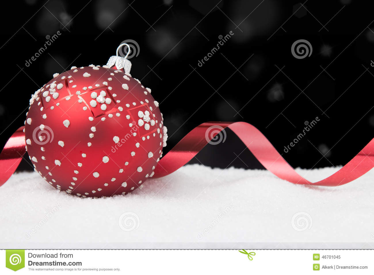 download red christmas ornament with ribbon on black stock image image of snowflake shiny - Black Red White Christmas Decorations