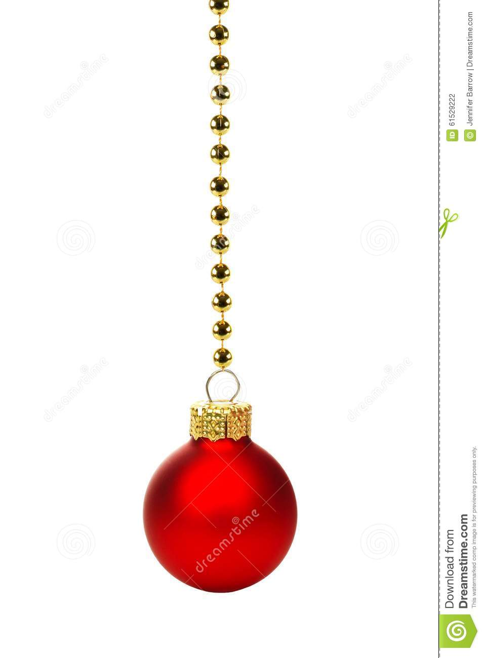 Red christmas ornament on string of gold beads over white stock photo image 61529222 - String ornaments christmas ...