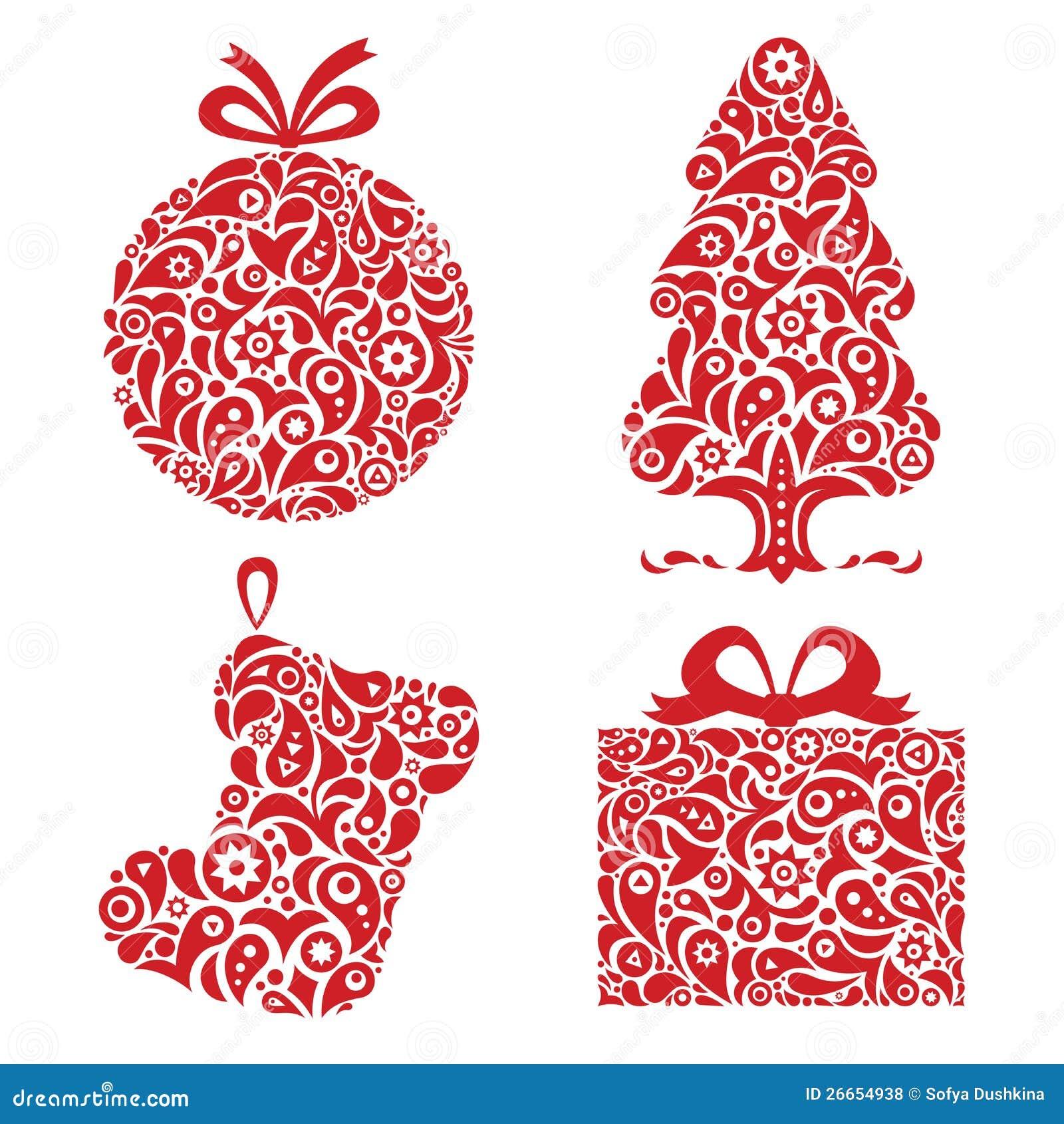 Red Christmas Ornamental Symbols Royalty Free Stock Photos